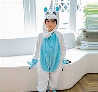 Пижама кигуруми для детей Единорог бело-голубой