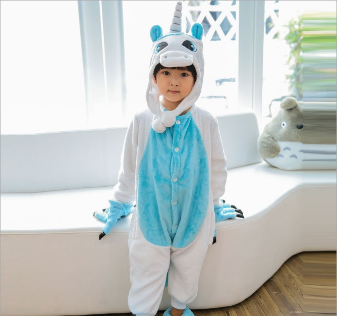 Пижама кигуруми для детей Единорог бело-голубой 63f522020be78