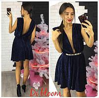 Женское красивое платье бархат плиссе с глубоким декольте и открытой спиной (3 цвета)
