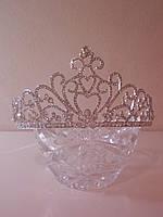 Корона для девочки, диадема, тиара под серебро, высота 7 см.