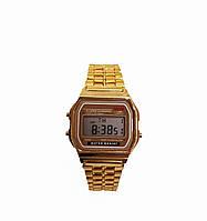 Часы электронные с будильником  на  золотистом браслете
