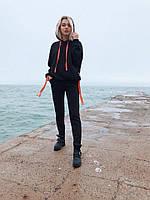 Спортивный женский костюм на флисе с капюшоном