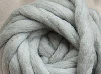 Толстая пряжа ручного прядения. 100% шерсть 21-23 мкрн. Цвет: Серебро.