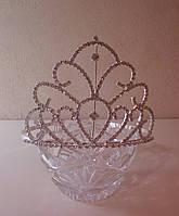 Корона для конкурса, диадема, тиара под серебро, высота 10 см.