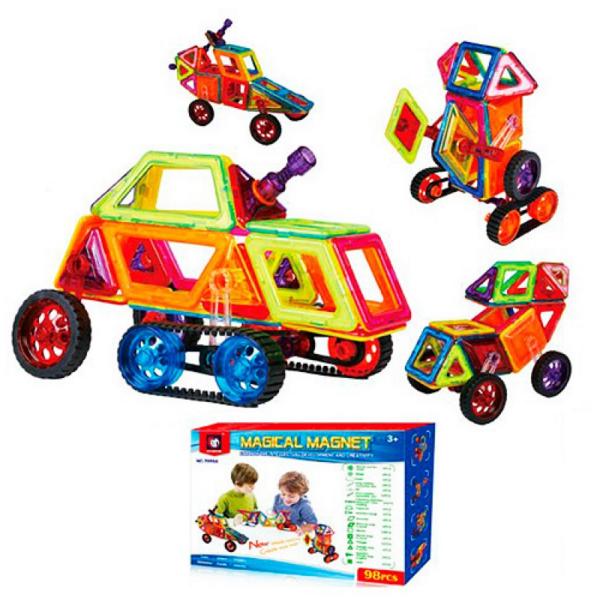 Конструктор магнитный, транспорт, 98 деталей.Детский магнитный конструктор.Игрушки для детей.