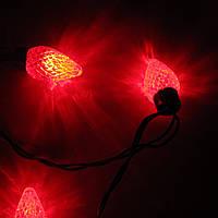 Нарядная электрическая гирлянда с шишками разных цветов