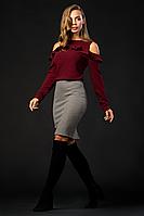 Женская трикотажная юбка-карандаш с высокой посадкой 6096
