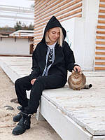 Стильный женский спортивный костюм на флисе с капюшоном, фото 1