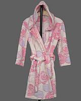 Детский махровый халат для девочки на поясе теплый банный домашний зимний велсофт мягкий с капюшоном