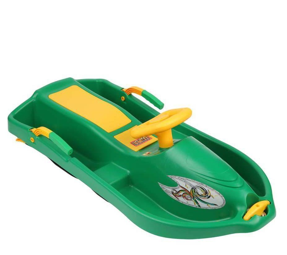 Санки с рулем Plastkon Snow boat зеленые