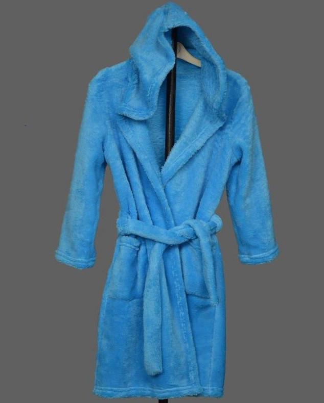 Детский махровый халат подростковый на поясе теплый банный домашний зимний велсофт мягкий с капюшоном