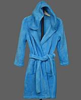 3bce4790fe93 Детский махровый халат подростковый на поясе теплый банный домашний зимний  велсофт мягкий с капюшоном 128