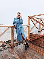 Стильное женское джинсовое платье с поясом