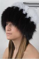 Песцовая шапка на вязаной основе в расцветках, фото 3