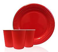 """Набор одноразовой посуды """"  Красный """". Тарелки -10 шт. Стаканчики - 10 шт."""