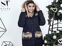 Женская зимняя куртка с мехом на пуговицах  (48-50,52-54)