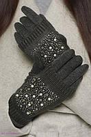 Перчатки митенки в стразах на меху, фото 1