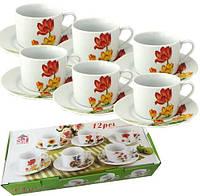 """Чайный набор """"Тюльпан"""" 6 чашек 250мл и 6 блюдец"""