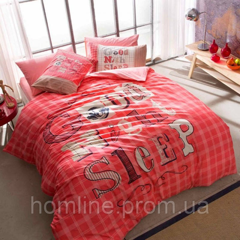Постельное белье Tac Teen Ranforce Good Night красное 160*220 подростковое