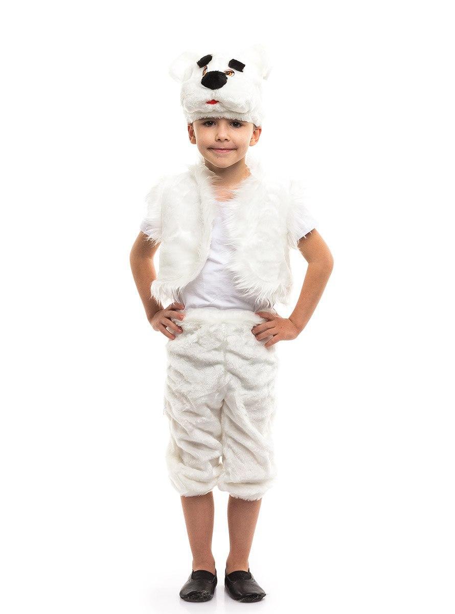 Детский карнавальный костюм Белый медведь мех (3-7 лет)