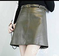 Стильная женская юбка (эко кожа, трапеция, мини, узкий пояс-ремень) РАЗНЫЕ ЦВЕТА!