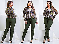 """Женский стильный брючный костюм в больших размерах 1171-1 """"Креп Букле Меланж Кант"""" в расцветках"""