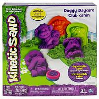 Набор песка для детского творчества - KINETIC SAND DOGGY (фиолетовый, зеленый, формочки, 340 г)