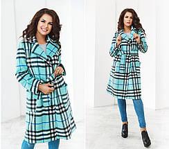 """Женское демисезонное пальто в клетку """"Aurelle"""" с карманами (большие размеры), фото 2"""