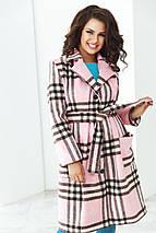 """Женское демисезонное пальто в клетку """"Aurelle"""" с карманами (большие размеры), фото 3"""