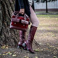 Женская сумка большая, выполнена из натуральной кожи и замши цвета бордо. Сумка 91887