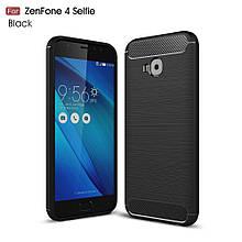 Чехол накладка TPU Fiber Carbon для Asus Zenfone 4 Selfie Pro ZD552KL черный