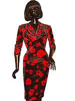 Платье бархатное с красными розами Арт.957 р.36,38,40,42,44