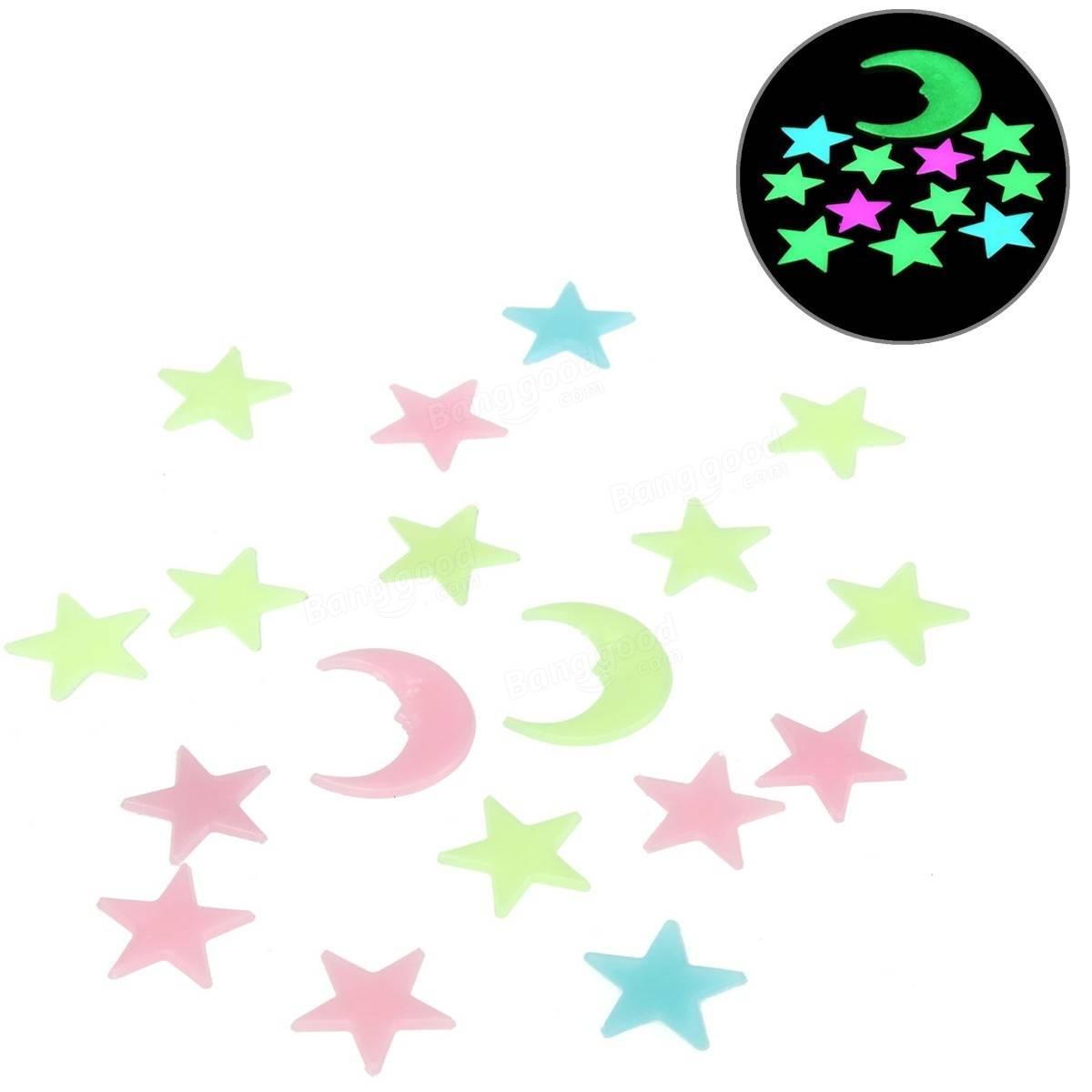 Светящиеся Звезды и луна. Светящиеся звездочки, месяц на стену, потолок. Фосфорные наклейки