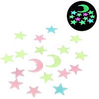 Светящиеся Звезды и луна. Светящиеся звездочки, месяц на стену, потолок. Фосфорные наклейки, фото 1