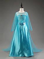 Длинное карнавальное платье Эльзы с шлейфом 98-134