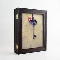 Ключница Подарок (настенная, эко-пластик) КЛЮЧ И РОЗА