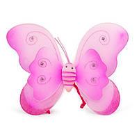 Маскарадные Крылья Бабочки двойные средние розовые 40х30 см
