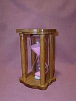 Часы песочные в деревянные с розовым песком 10 минут 14 сантиметров высота