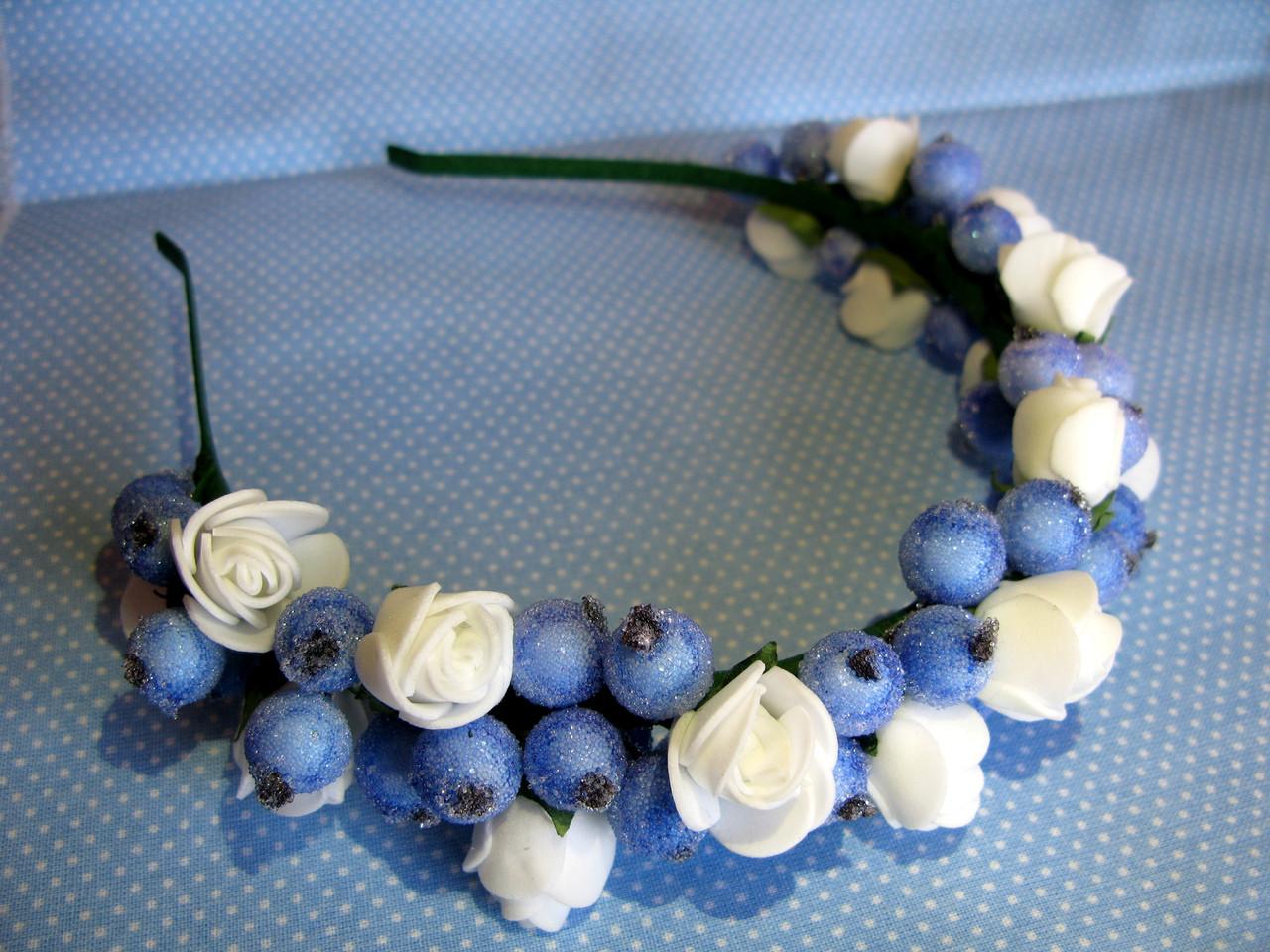 Обруч с сахарными ягодами калины и розочками 125 грн