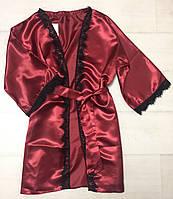 Атласный халат с кружевом под пояс