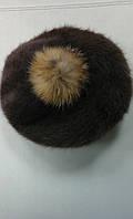 Берет женский ангора шоколадный с бубоном ., фото 1