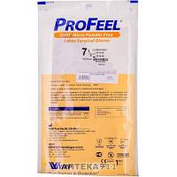 Перчатки хирургические латексные стерильные неприпудренные ProFeel Micro (Профайл Микро) тонкие антибликовые с полимерным покрытием размер 7,5 1 пара