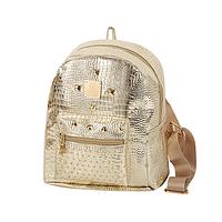 Модный золотистый женский рюкзак код 3-224