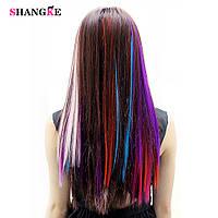 Цветная накладная прядь на заколке клипсе, прямые волосы, цвет малиновый
