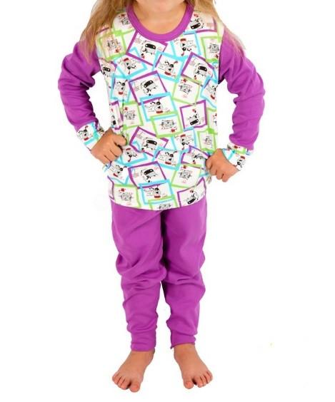 Пижама детская яркая сиреневая для девочек и мальчиков трикотажная хлопок 100% Украина