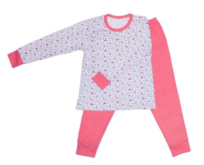 Розовая пижама интерлок детская подросток  для девочек длинный рукав трикотаж хлопок Украина