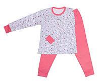 Розовая пижама интерлок детская подросток  для девочек длинный рукав трикотаж хлопок (Украина)