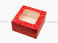 Упаковка для зефира, печенья и эклеров новогодняя - Красная - 170х170х90 мм