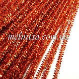 Синельная проволока, блестящая, 30см, цвет т.оранжевый,  10 шт., фото 2