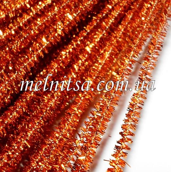 Синельная проволока, блестящая, 30см, цвет т.оранжевый,  10 шт.